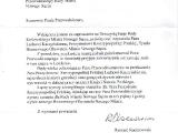 Pismo od b. Prezydenta Rzeczypospolitej Polskiej Ryszarda Kaczorowskiego