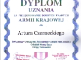 Dyplom uznania za pielęgnacje dobrych tradycji Armi Krajowej